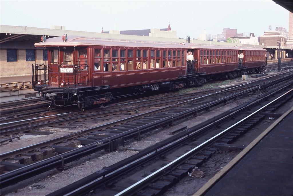 (207k, 1024x687)<br><b>Country:</b> United States<br><b>City:</b> New York<br><b>System:</b> New York City Transit<br><b>Line:</b> IND Crosstown Line<br><b>Location:</b> 4th Avenue <br><b>Route:</b> Fan Trip<br><b>Car:</b> BMT Elevated Gate Car 1404/1273/1407 <br><b>Photo by:</b> Doug Grotjahn<br><b>Collection of:</b> Joe Testagrose<br><b>Date:</b> 8/30/1980<br><b>Viewed (this week/total):</b> 1 / 756
