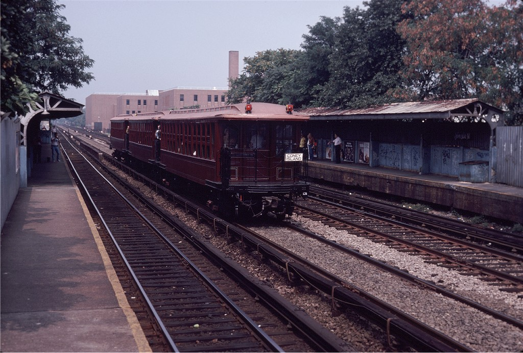 (240k, 1024x692)<br><b>Country:</b> United States<br><b>City:</b> New York<br><b>System:</b> New York City Transit<br><b>Line:</b> BMT Brighton Line<br><b>Location:</b> Avenue M <br><b>Route:</b> Fan Trip<br><b>Car:</b> BMT Elevated Gate Car 1404/1273/1407 <br><b>Photo by:</b> Steve Zabel<br><b>Collection of:</b> Joe Testagrose<br><b>Date:</b> 8/30/1980<br><b>Viewed (this week/total):</b> 1 / 824
