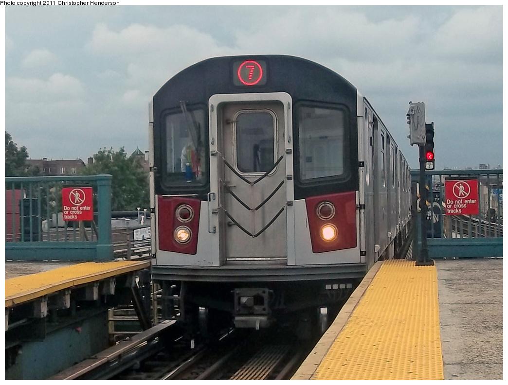 (326k, 1044x792)<br><b>Country:</b> United States<br><b>City:</b> New York<br><b>System:</b> New York City Transit<br><b>Line:</b> IRT Flushing Line<br><b>Location:</b> Junction Boulevard <br><b>Route:</b> 7 testing<br><b>Car:</b> R-142A (Primary Order, Kawasaki, 1999-2002)  7510 <br><b>Photo by:</b> Christopher Henderson<br><b>Date:</b> 9/21/2011<br><b>Viewed (this week/total):</b> 11 / 2098