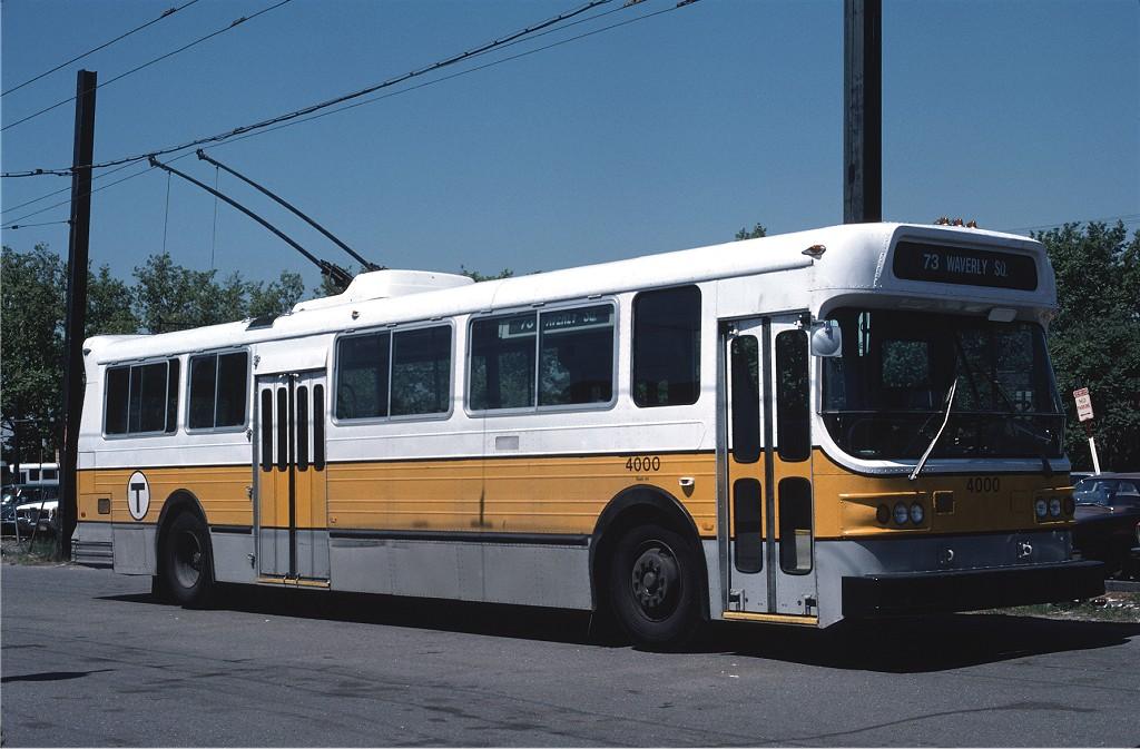 (177k, 1024x673)<br><b>Country:</b> United States<br><b>City:</b> Boston, MA<br><b>System:</b> MBTA Boston<br><b>Line:</b> MBTA Trolleybus (71,72,73)<br><b>Location:</b> Bennett St Carhouse<br><b>Car:</b> MBTA Trolleybus 4000 <br><b>Photo by:</b> Gerald H. Landau<br><b>Collection of:</b> Joe Testagrose<br><b>Date:</b> 6/1976<br><b>Viewed (this week/total):</b> 0 / 646