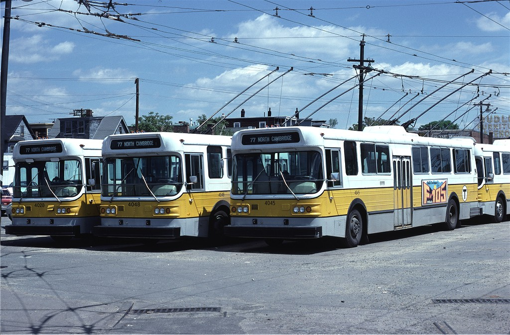 (250k, 1024x674)<br><b>Country:</b> United States<br><b>City:</b> Boston, MA<br><b>System:</b> MBTA Boston<br><b>Line:</b> MBTA Trolleybus (71,72,73)<br><b>Location:</b> North Cambridge Car House<br><b>Car:</b> MBTA Trolleybus 4045 <br><b>Collection of:</b> Joe Testagrose<br><b>Date:</b> 5/22/1979<br><b>Viewed (this week/total):</b> 1 / 489