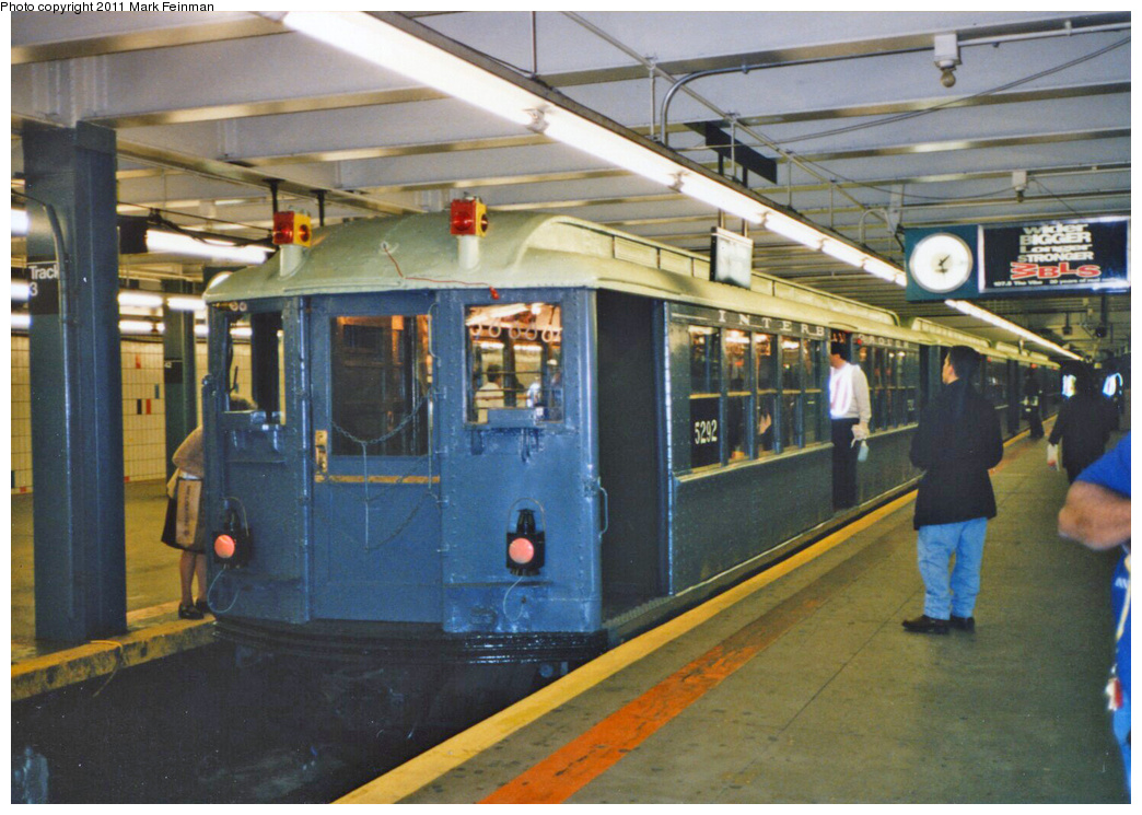 (375k, 1044x745)<br><b>Country:</b> United States<br><b>City:</b> New York<br><b>System:</b> New York City Transit<br><b>Line:</b> IRT Times Square-Grand Central Shuttle<br><b>Location:</b> Grand Central <br><b>Route:</b> Fan Trip<br><b>Car:</b> Low-V (Museum Train) 5292 <br><b>Photo by:</b> Mark S. Feinman<br><b>Date:</b> 10/27/1994<br><b>Notes:</b> 90th Anniversary service.<br><b>Viewed (this week/total):</b> 0 / 835