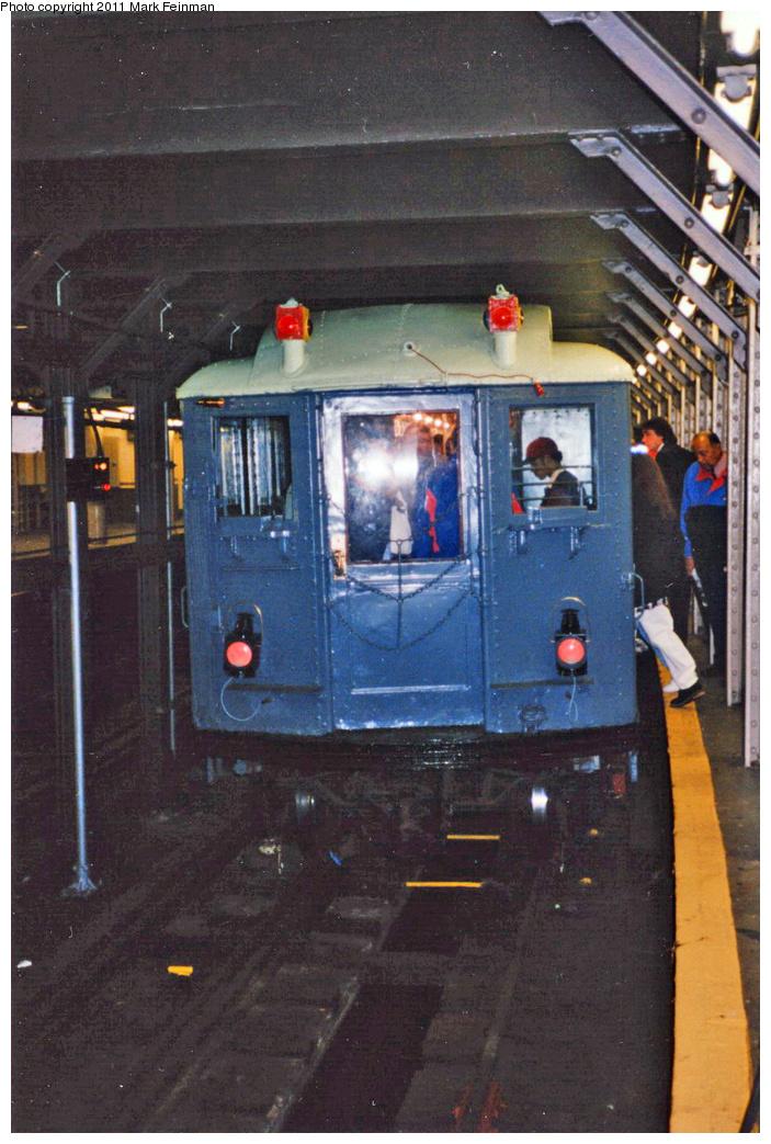 (362k, 703x1043)<br><b>Country:</b> United States<br><b>City:</b> New York<br><b>System:</b> New York City Transit<br><b>Line:</b> IRT Times Square-Grand Central Shuttle<br><b>Location:</b> Times Square <br><b>Route:</b> Fan Trip<br><b>Car:</b> Low-V (Museum Train) 5292 <br><b>Photo by:</b> Mark S. Feinman<br><b>Date:</b> 10/27/1994<br><b>Notes:</b> 90th Anniversary service.<br><b>Viewed (this week/total):</b> 1 / 1118
