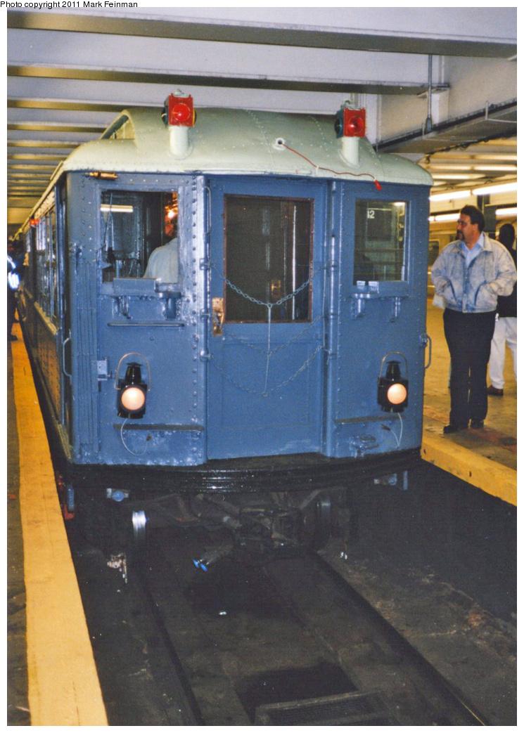 (343k, 745x1043)<br><b>Country:</b> United States<br><b>City:</b> New York<br><b>System:</b> New York City Transit<br><b>Line:</b> IRT Times Square-Grand Central Shuttle<br><b>Location:</b> Grand Central <br><b>Route:</b> Fan Trip<br><b>Car:</b> Low-V (Museum Train) 5292 <br><b>Photo by:</b> Mark S. Feinman<br><b>Date:</b> 10/27/1994<br><b>Notes:</b> 90th Anniversary service.<br><b>Viewed (this week/total):</b> 0 / 618