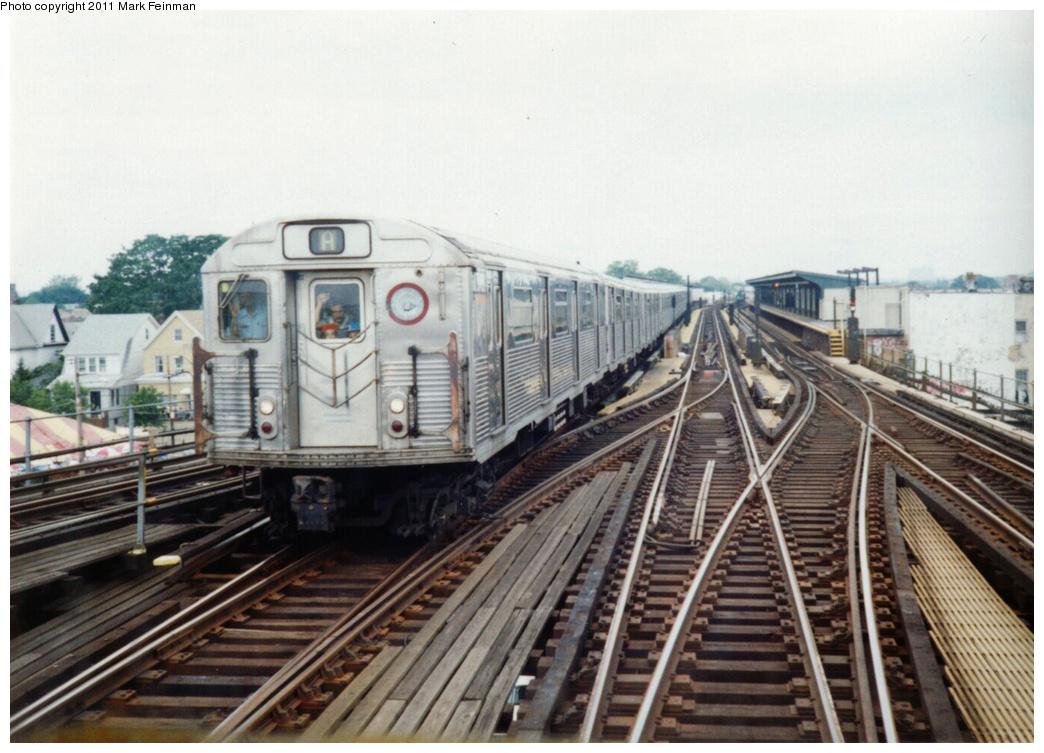 (336k, 1044x753)<br><b>Country:</b> United States<br><b>City:</b> New York<br><b>System:</b> New York City Transit<br><b>Line:</b> IND Fulton Street Line<br><b>Location:</b> Rockaway Boulevard <br><b>Route:</b> A<br><b>Car:</b> R-38 (St. Louis, 1966-1967)   <br><b>Photo by:</b> Mark S. Feinman<br><b>Date:</b> 6/24/1995<br><b>Viewed (this week/total):</b> 3 / 1273