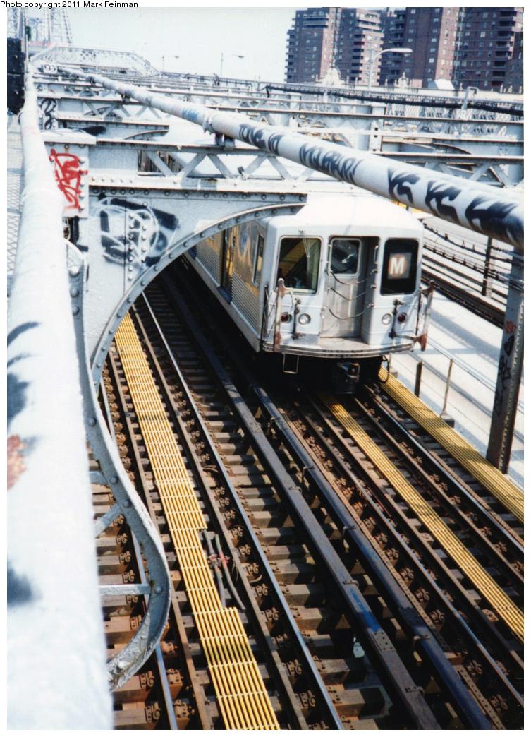(442k, 753x1044)<br><b>Country:</b> United States<br><b>City:</b> New York<br><b>System:</b> New York City Transit<br><b>Line:</b> BMT Nassau Street/Jamaica Line<br><b>Location:</b> Williamsburg Bridge<br><b>Route:</b> M<br><b>Car:</b> R-42 (St. Louis, 1969-1970)   <br><b>Photo by:</b> Mark S. Feinman<br><b>Date:</b> 7/1994<br><b>Viewed (this week/total):</b> 0 / 763