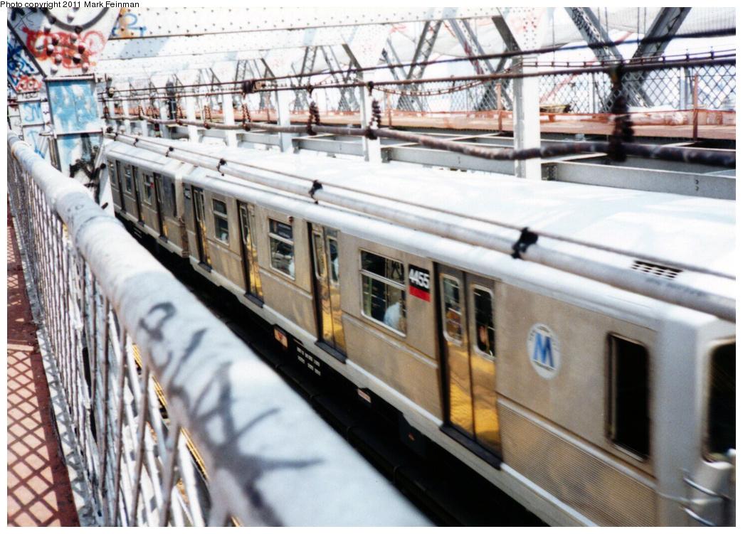(383k, 1044x751)<br><b>Country:</b> United States<br><b>City:</b> New York<br><b>System:</b> New York City Transit<br><b>Line:</b> BMT Nassau Street/Jamaica Line<br><b>Location:</b> Williamsburg Bridge<br><b>Route:</b> J<br><b>Car:</b> R-40M (St. Louis, 1969)  4455 <br><b>Photo by:</b> Mark S. Feinman<br><b>Date:</b> 7/1994<br><b>Viewed (this week/total):</b> 0 / 1199