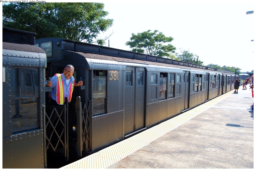 (328k, 1044x699)<br><b>Country:</b> United States<br><b>City:</b> New York<br><b>System:</b> New York City Transit<br><b>Line:</b> IND Rockaway<br><b>Location:</b> Rockaway Park/Beach 116th Street <br><b>Route:</b> Fan Trip<br><b>Car:</b> R-1 (American Car & Foundry, 1930-1931) 381 <br><b>Photo by:</b> John Dooley<br><b>Date:</b> 8/20/2011<br><b>Viewed (this week/total):</b> 2 / 1268