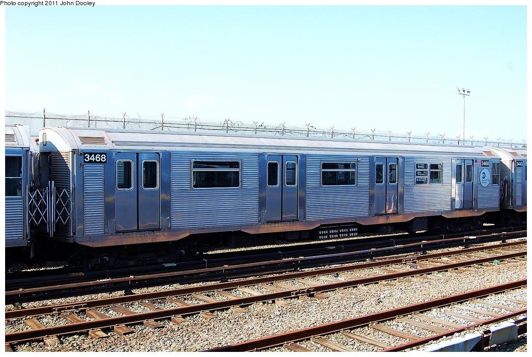(387k, 1044x701)<br><b>Country:</b> United States<br><b>City:</b> New York<br><b>System:</b> New York City Transit<br><b>Location:</b> Rockaway Park Yard<br><b>Car:</b> R-32 (Budd, 1964)  3468 <br><b>Photo by:</b> John Dooley<br><b>Date:</b> 8/20/2011<br><b>Viewed (this week/total):</b> 0 / 831
