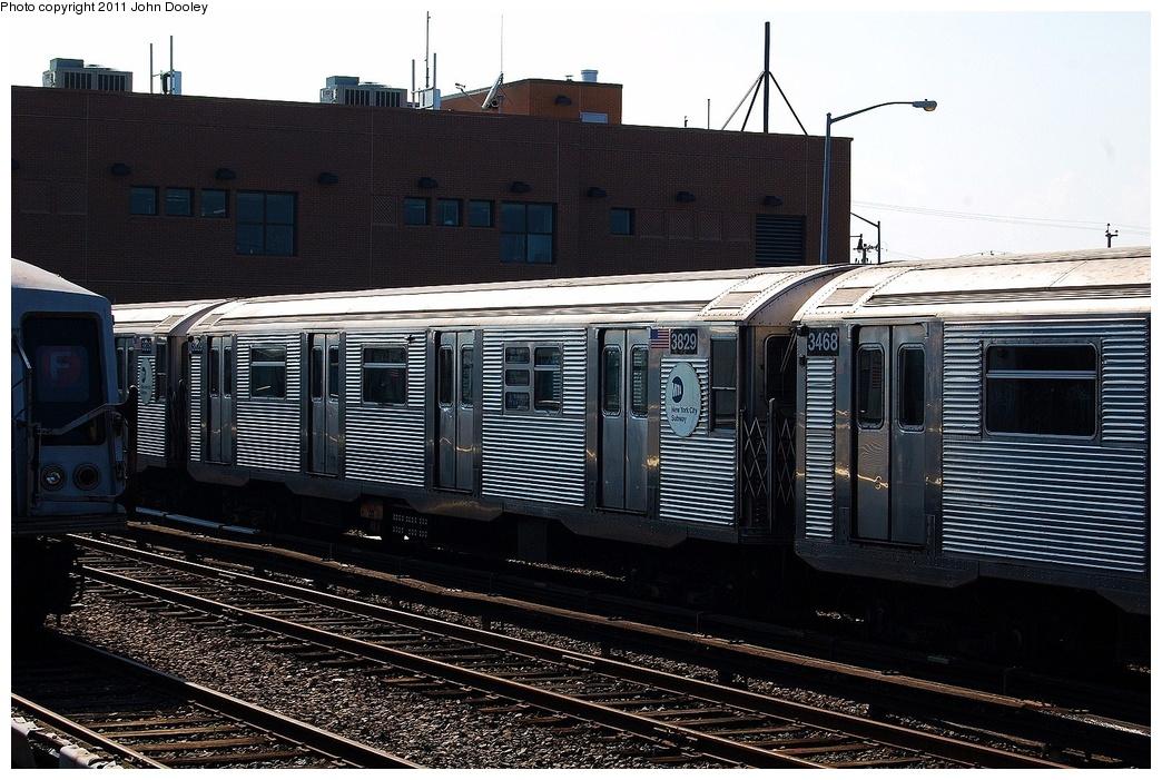 (356k, 1044x701)<br><b>Country:</b> United States<br><b>City:</b> New York<br><b>System:</b> New York City Transit<br><b>Location:</b> Rockaway Park Yard<br><b>Car:</b> R-32 (Budd, 1964)  3829 <br><b>Photo by:</b> John Dooley<br><b>Date:</b> 8/20/2011<br><b>Viewed (this week/total):</b> 0 / 776