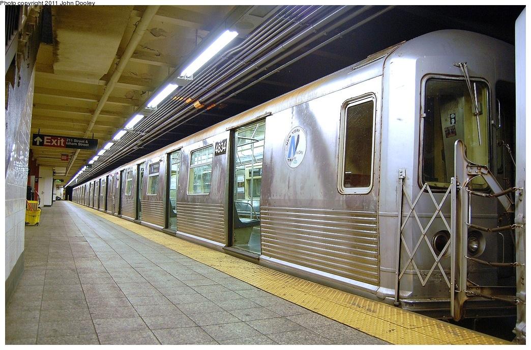 (405k, 1044x687)<br><b>Country:</b> United States<br><b>City:</b> New York<br><b>System:</b> New York City Transit<br><b>Line:</b> IND 8th Avenue Line<br><b>Location:</b> 207th Street <br><b>Route:</b> A<br><b>Car:</b> R-42 (St. Louis, 1969-1970)  4834 <br><b>Photo by:</b> John Dooley<br><b>Date:</b> 8/15/2011<br><b>Viewed (this week/total):</b> 4 / 993