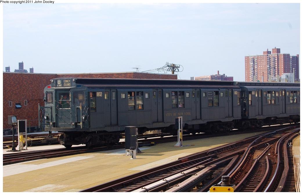 (285k, 1044x671)<br><b>Country:</b> United States<br><b>City:</b> New York<br><b>System:</b> New York City Transit<br><b>Location:</b> Coney Island/Stillwell Avenue<br><b>Route:</b> Fan Trip<br><b>Car:</b> R-9 (Pressed Steel, 1940)  1802 <br><b>Photo by:</b> John Dooley<br><b>Date:</b> 7/23/2011<br><b>Viewed (this week/total):</b> 0 / 1004