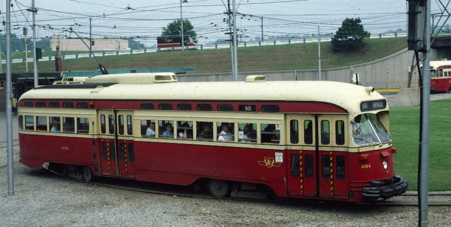 (68k, 900x453)<br><b>Country:</b> Canada<br><b>City:</b> Toronto<br><b>System:</b> TTC<br><b>Line:</b> TTC 501-Queen<br><b>Location:</b> Humber Loop <br><b>Route:</b> 501 Neville Park at Humber Loop<br><b>Car:</b> PCC (TTC Toronto) 4384 <br><b>Photo by:</b> Robert Callahan<br><b>Date:</b> 8/8/1981<br><b>Viewed (this week/total):</b> 1 / 415