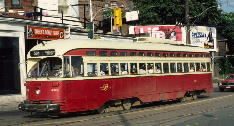 (64k, 800x432)<br><b>Country:</b> Canada<br><b>City:</b> Toronto<br><b>System:</b> TTC<br><b>Line:</b> TTC 504-King<br><b>Location:</b> King/Queen W./Roncesvalles/The Queensway <br><b>Car:</b> PCC (TTC Toronto) 4384 <br><b>Photo by:</b> Robert Callahan<br><b>Date:</b> 8/9/1981<br><b>Viewed (this week/total):</b> 1 / 431