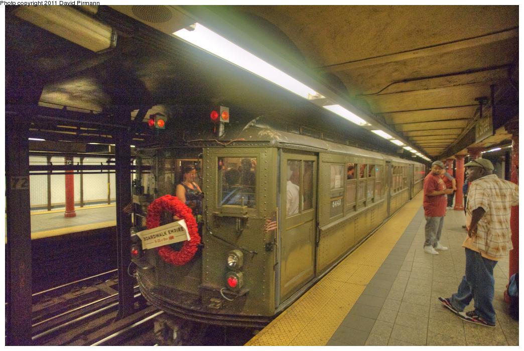 (393k, 1044x700)<br><b>Country:</b> United States<br><b>City:</b> New York<br><b>System:</b> New York City Transit<br><b>Line:</b> IRT West Side Line<br><b>Location:</b> 72nd Street <br><b>Route:</b> Fan Trip<br><b>Car:</b> Low-V (Museum Train) 5443 <br><b>Photo by:</b> David Pirmann<br><b>Date:</b> 9/24/2011<br><b>Notes:</b> HBO Boardwalk Empire promotional service.<br><b>Viewed (this week/total):</b> 1 / 1702