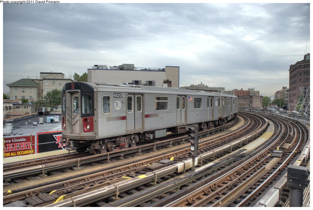 (353k, 1044x700)<br><b>Country:</b> United States<br><b>City:</b> New York<br><b>System:</b> New York City Transit<br><b>Line:</b> IRT White Plains Road Line<br><b>Location:</b> Simpson Street <br><b>Route:</b> 5<br><b>Car:</b> R-142 (Primary Order, Bombardier, 1999-2002)  6820 <br><b>Photo by:</b> David Pirmann<br><b>Date:</b> 9/24/2011<br><b>Viewed (this week/total):</b> 2 / 1086