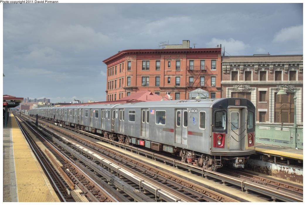 (371k, 1044x700)<br><b>Country:</b> United States<br><b>City:</b> New York<br><b>System:</b> New York City Transit<br><b>Line:</b> IRT White Plains Road Line<br><b>Location:</b> Simpson Street <br><b>Route:</b> 2<br><b>Car:</b> R-142 (Primary Order, Bombardier, 1999-2002)  6636 <br><b>Photo by:</b> David Pirmann<br><b>Date:</b> 9/24/2011<br><b>Viewed (this week/total):</b> 0 / 1171