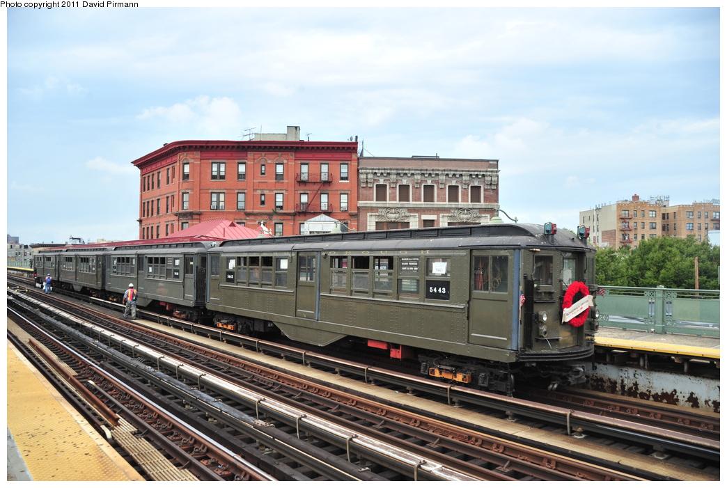 (364k, 1044x701)<br><b>Country:</b> United States<br><b>City:</b> New York<br><b>System:</b> New York City Transit<br><b>Line:</b> IRT White Plains Road Line<br><b>Location:</b> Simpson Street <br><b>Route:</b> Fan Trip<br><b>Car:</b> Low-V (Museum Train) 5443 <br><b>Photo by:</b> David Pirmann<br><b>Date:</b> 9/24/2011<br><b>Viewed (this week/total):</b> 2 / 944