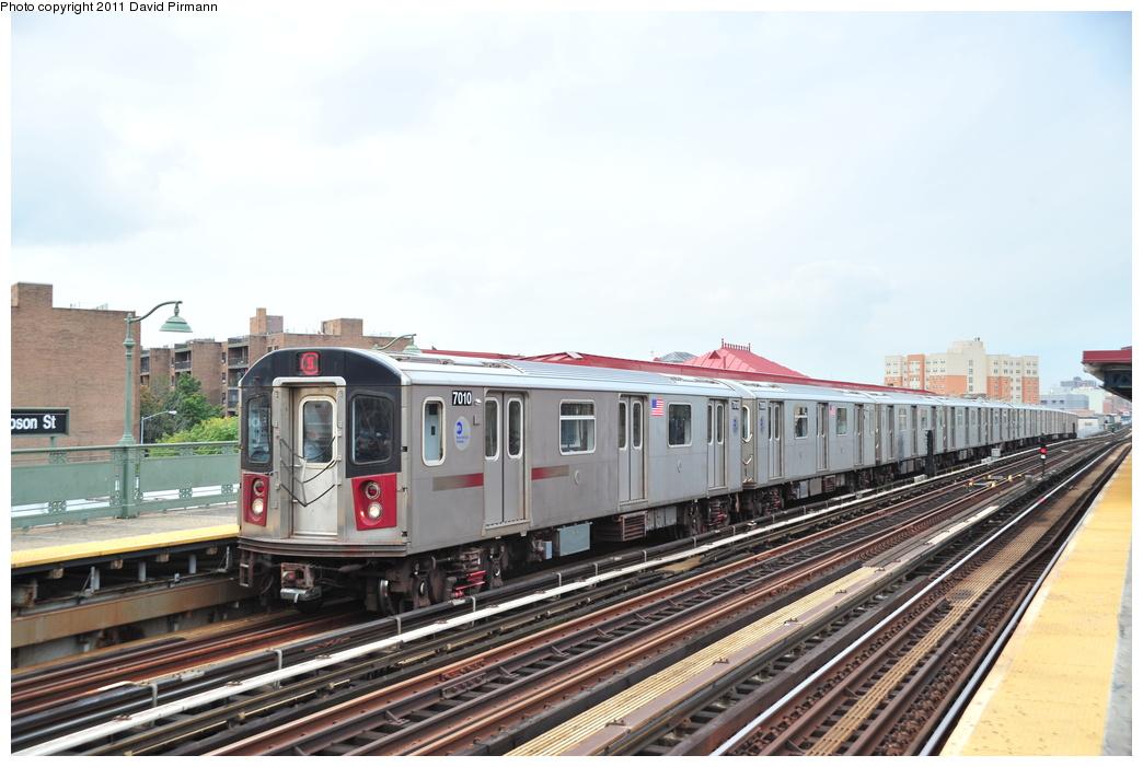 (313k, 1044x701)<br><b>Country:</b> United States<br><b>City:</b> New York<br><b>System:</b> New York City Transit<br><b>Line:</b> IRT White Plains Road Line<br><b>Location:</b> Simpson Street <br><b>Route:</b> 5<br><b>Car:</b> R-142 (Option Order, Bombardier, 2002-2003)  7010 <br><b>Photo by:</b> David Pirmann<br><b>Date:</b> 9/24/2011<br><b>Viewed (this week/total):</b> 1 / 950