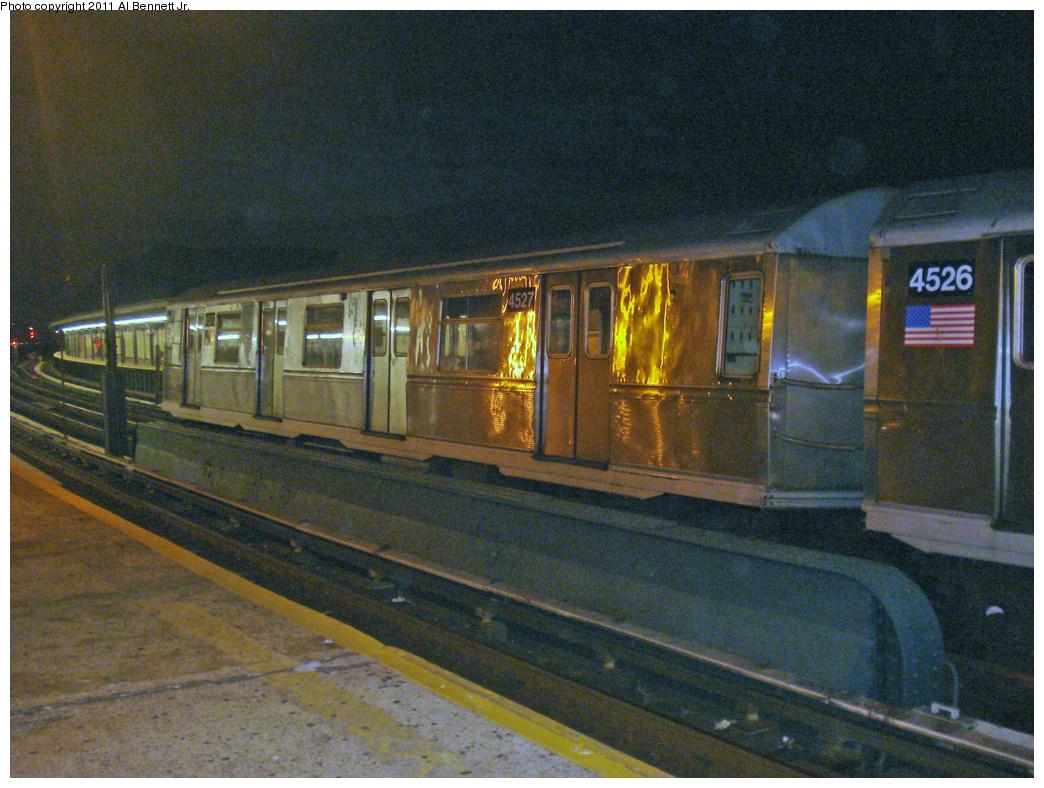 (569k, 1044x788)<br><b>Country:</b> United States<br><b>City:</b> New York<br><b>System:</b> New York City Transit<br><b>Line:</b> IND Fulton Street Line<br><b>Location:</b> 111th Street/Greenwood Avenue <br><b>Route:</b> A Layup<br><b>Car:</b> R-40M (St. Louis, 1969)  4527 <br><b>Photo by:</b> Al Bennett, Jr.<br><b>Date:</b> 9/2/2008<br><b>Viewed (this week/total):</b> 1 / 1143