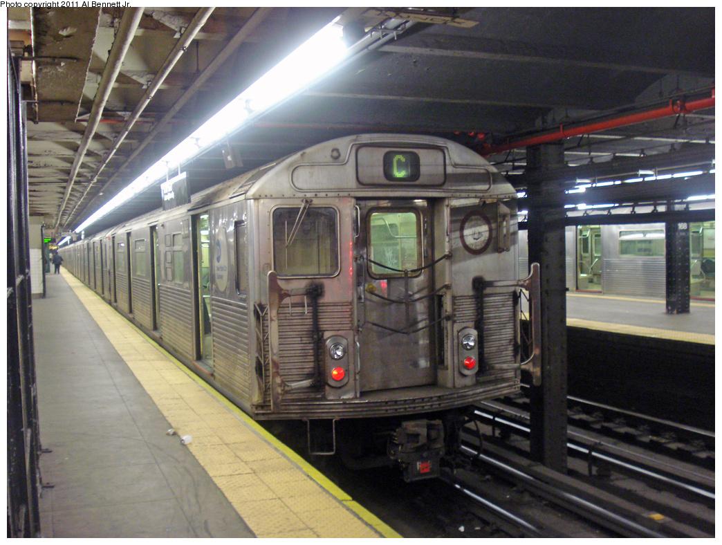 (462k, 1044x788)<br><b>Country:</b> United States<br><b>City:</b> New York<br><b>System:</b> New York City Transit<br><b>Line:</b> IND 8th Avenue Line<br><b>Location:</b> 168th Street <br><b>Route:</b> C<br><b>Car:</b> R-38 (St. Louis, 1966-1967)  4144 <br><b>Photo by:</b> Al Bennett, Jr.<br><b>Date:</b> 7/12/2008<br><b>Viewed (this week/total):</b> 3 / 1409