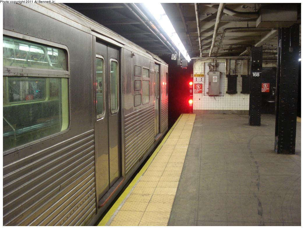 (363k, 1044x788)<br><b>Country:</b> United States<br><b>City:</b> New York<br><b>System:</b> New York City Transit<br><b>Line:</b> IND 8th Avenue Line<br><b>Location:</b> 168th Street <br><b>Route:</b> C<br><b>Car:</b> R-38 (St. Louis, 1966-1967)  4144 <br><b>Photo by:</b> Al Bennett, Jr.<br><b>Date:</b> 7/12/2008<br><b>Viewed (this week/total):</b> 2 / 949