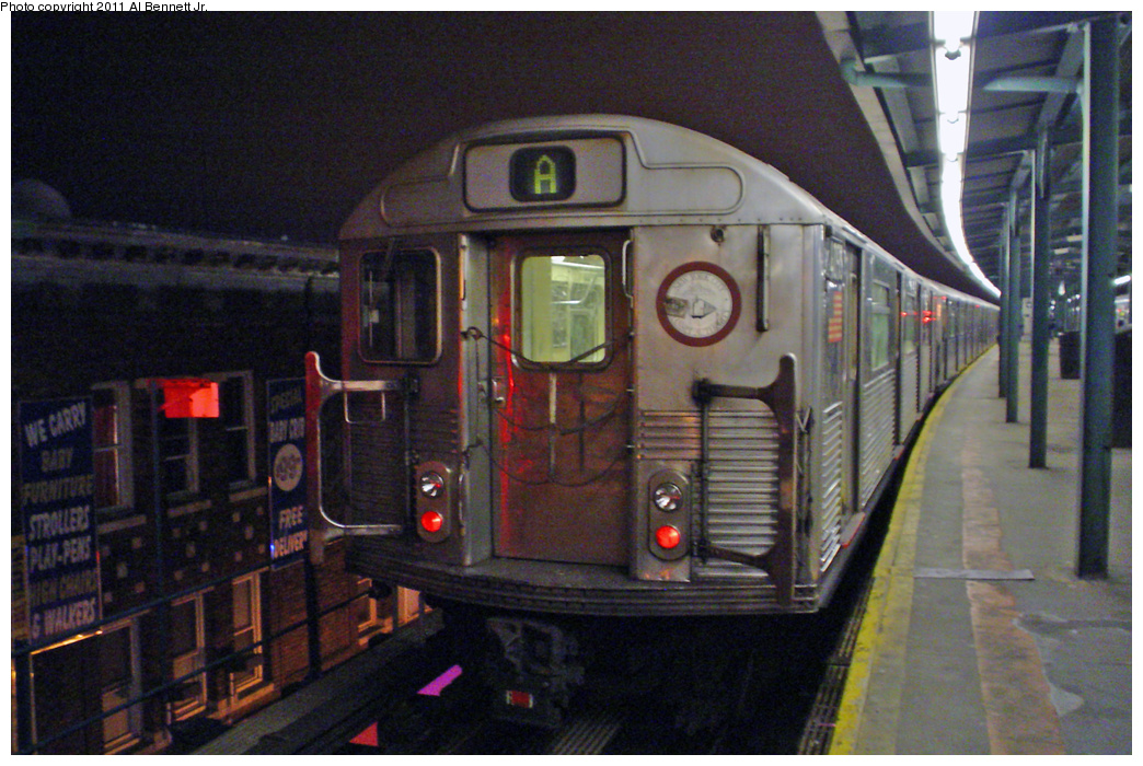 (431k, 1044x700)<br><b>Country:</b> United States<br><b>City:</b> New York<br><b>System:</b> New York City Transit<br><b>Line:</b> IND Fulton Street Line<br><b>Location:</b> Lefferts Boulevard <br><b>Route:</b> A<br><b>Car:</b> R-38 (St. Louis, 1966-1967)   <br><b>Photo by:</b> Al Bennett, Jr.<br><b>Date:</b> 3/25/2008<br><b>Viewed (this week/total):</b> 1 / 1033