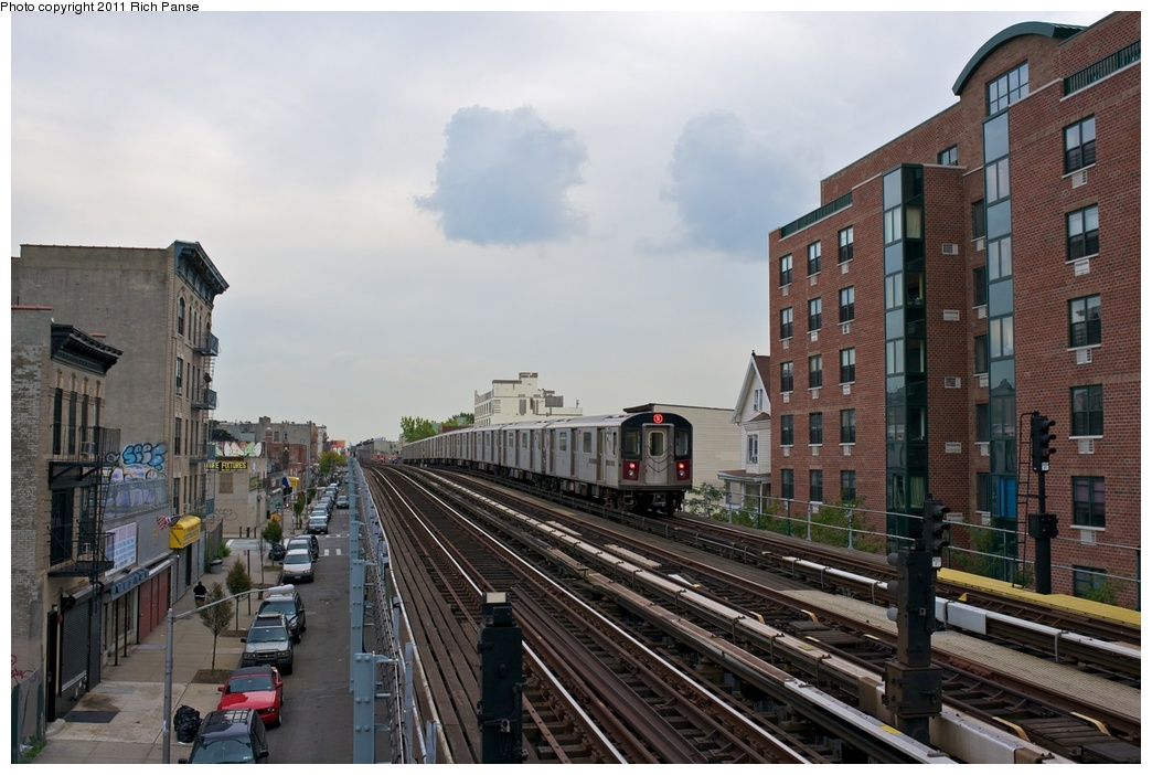 (263k, 1044x702)<br><b>Country:</b> United States<br><b>City:</b> New York<br><b>System:</b> New York City Transit<br><b>Line:</b> IRT White Plains Road Line<br><b>Location:</b> Freeman Street <br><b>Route:</b> 5<br><b>Car:</b> R-142 (Primary Order, Bombardier, 1999-2002)  6836 <br><b>Photo by:</b> Richard Panse<br><b>Date:</b> 9/25/2011<br><b>Viewed (this week/total):</b> 3 / 1247