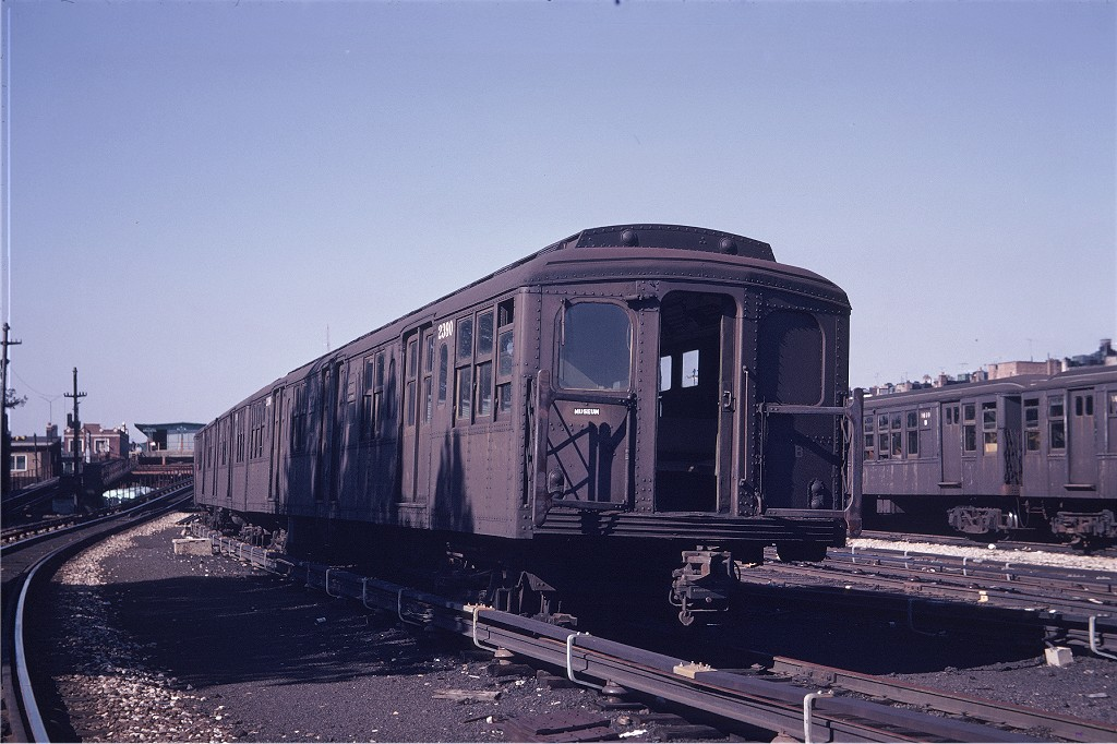 (184k, 1024x682)<br><b>Country:</b> United States<br><b>City:</b> New York<br><b>System:</b> New York City Transit<br><b>Location:</b> Fresh Pond Yard<br><b>Car:</b> BMT A/B-Type Standard 2390 <br><b>Photo by:</b> Gerald H. Landau<br><b>Collection of:</b> Joe Testagrose<br><b>Date:</b> 10/4/1969<br><b>Viewed (this week/total):</b> 5 / 962
