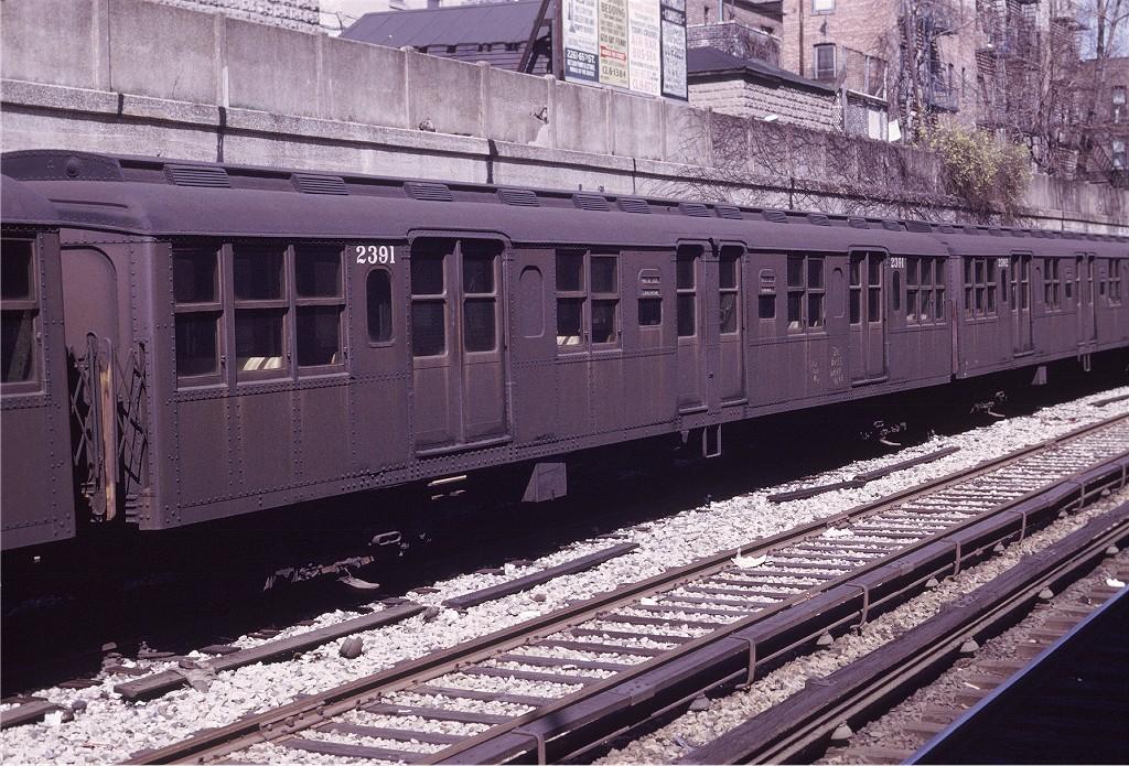 (279k, 1024x695)<br><b>Country:</b> United States<br><b>City:</b> New York<br><b>System:</b> New York City Transit<br><b>Line:</b> BMT Sea Beach Line<br><b>Location:</b> Bay Parkway (22nd Avenue) <br><b>Route:</b> Fan Trip<br><b>Car:</b> BMT A/B-Type Standard 2391 <br><b>Photo by:</b> Joe Testagrose<br><b>Date:</b> 4/13/1969<br><b>Viewed (this week/total):</b> 2 / 759