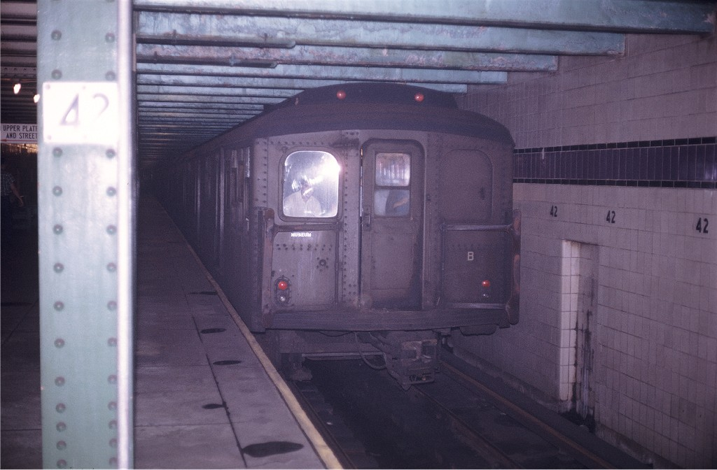 (154k, 1024x672)<br><b>Country:</b> United States<br><b>City:</b> New York<br><b>System:</b> New York City Transit<br><b>Line:</b> IND 8th Avenue Line<br><b>Location:</b> 42nd Street/Port Authority Bus Terminal (Lower Level) <br><b>Route:</b> Fan Trip<br><b>Car:</b> BMT A/B-Type Standard 2392 <br><b>Photo by:</b> Doug Grotjahn<br><b>Collection of:</b> Joe Testagrose<br><b>Date:</b> 8/23/1969<br><b>Viewed (this week/total):</b> 7 / 3218