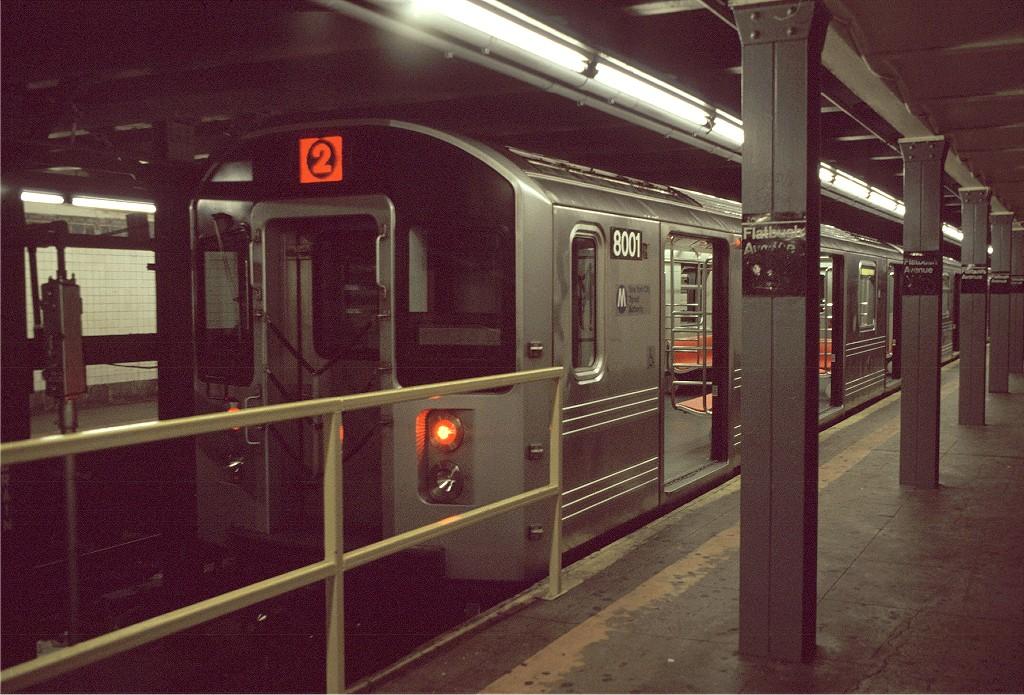 (243k, 1024x695)<br><b>Country:</b> United States<br><b>City:</b> New York<br><b>System:</b> New York City Transit<br><b>Line:</b> IRT Brooklyn Line<br><b>Location:</b> Flatbush Avenue <br><b>Route:</b> 2<br><b>Car:</b> R-110A (Kawasaki, 1992) 8001 <br><b>Photo by:</b> Doug Grotjahn<br><b>Collection of:</b> Joe Testagrose<br><b>Date:</b> 5/12/1994<br><b>Viewed (this week/total):</b> 3 / 3597
