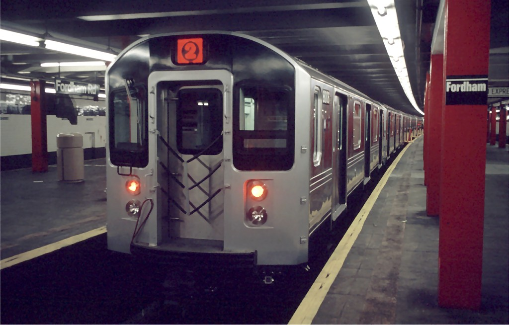 (134k, 1024x654)<br><b>Country:</b> United States<br><b>City:</b> New York<br><b>System:</b> New York City Transit<br><b>Line:</b> IND Concourse Line<br><b>Location:</b> Fordham Road <br><b>Car:</b> R-110A (Kawasaki, 1992) 8006 <br><b>Photo by:</b> Doug Grotjahn<br><b>Collection of:</b> Joe Testagrose<br><b>Date:</b> 12/12/1992<br><b>Viewed (this week/total):</b> 9 / 4224
