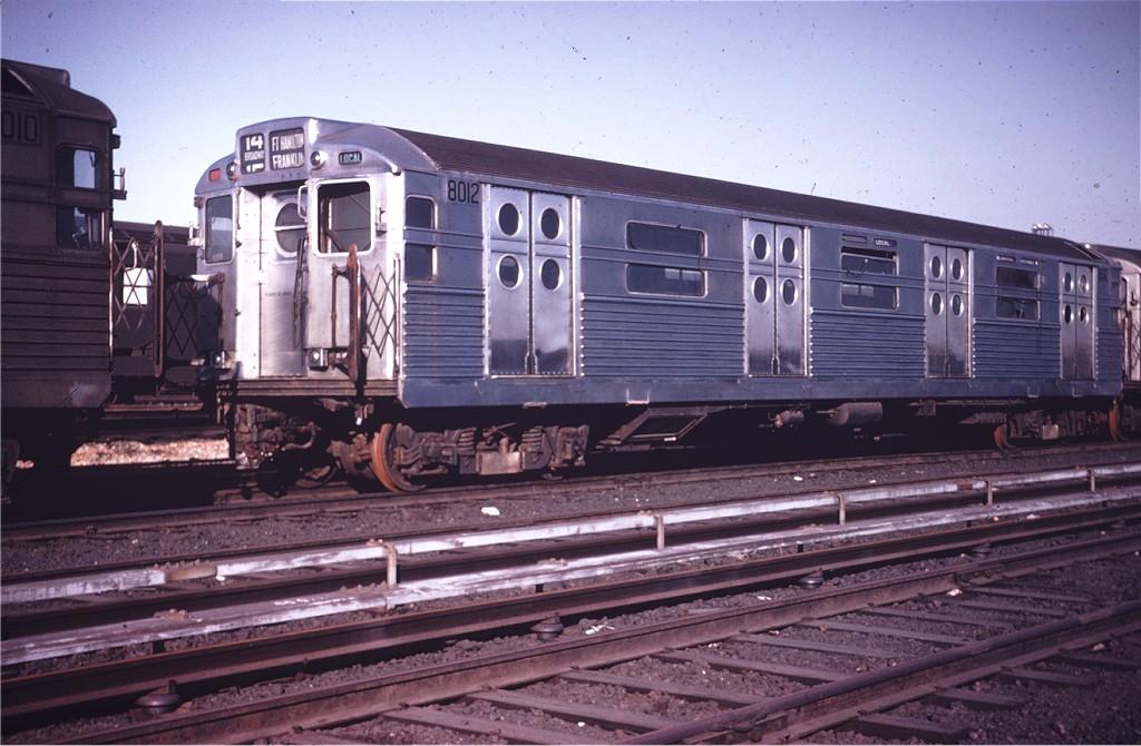 (186k, 1024x670)<br><b>Country:</b> United States<br><b>City:</b> New York<br><b>System:</b> New York City Transit<br><b>Location:</b> Coney Island Yard<br><b>Car:</b> R-11 (Budd, 1949) 8012 <br><b>Photo by:</b> Willie Rosenberg<br><b>Collection of:</b> Joe Testagrose<br><b>Viewed (this week/total):</b> 0 / 1073