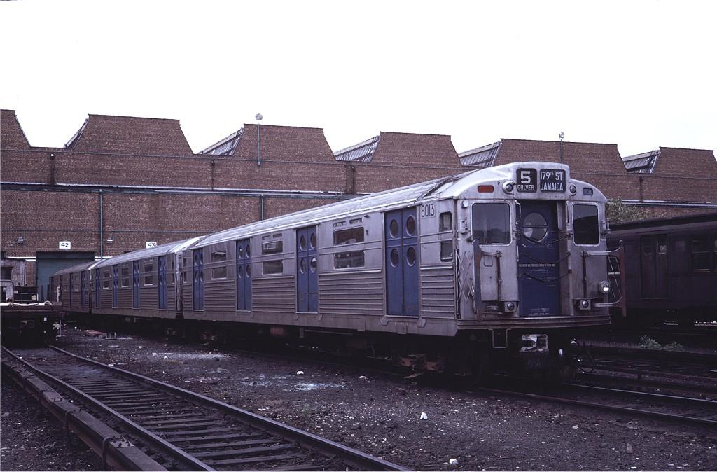 (185k, 1024x674)<br><b>Country:</b> United States<br><b>City:</b> New York<br><b>System:</b> New York City Transit<br><b>Location:</b> Coney Island Yard<br><b>Car:</b> R-11 (Budd, 1949) 8013 <br><b>Photo by:</b> Steve Zabel<br><b>Collection of:</b> Joe Testagrose<br><b>Date:</b> 5/21/1971<br><b>Viewed (this week/total):</b> 6 / 860