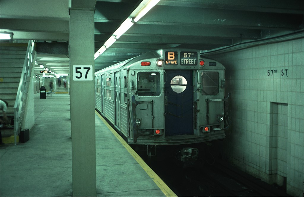 (143k, 1024x665)<br><b>Country:</b> United States<br><b>City:</b> New York<br><b>System:</b> New York City Transit<br><b>Line:</b> IND 6th Avenue Line<br><b>Location:</b> 57th Street <br><b>Route:</b> Fan Trip<br><b>Car:</b> R-11 (Budd, 1949) 8013 <br><b>Photo by:</b> Doug Grotjahn<br><b>Collection of:</b> Joe Testagrose<br><b>Date:</b> 9/21/1975<br><b>Viewed (this week/total):</b> 17 / 1651