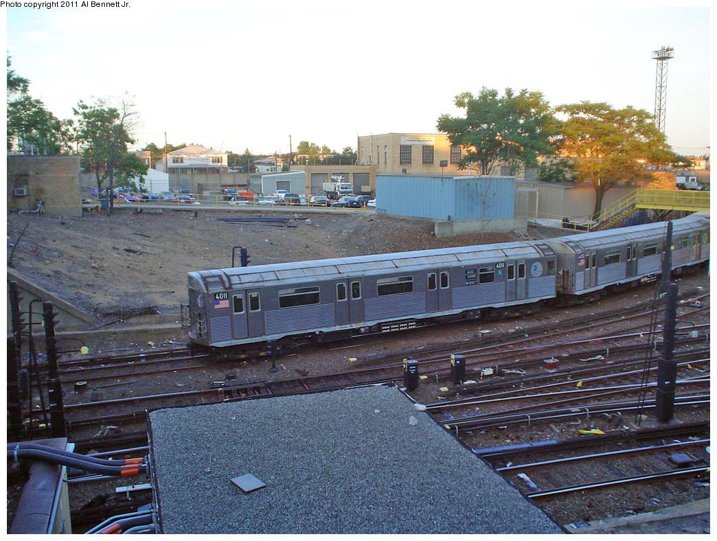 (534k, 1044x788)<br><b>Country:</b> United States<br><b>City:</b> New York<br><b>System:</b> New York City Transit<br><b>Location:</b> Pitkin Yard/Shops<br><b>Route:</b> Yard move<br><b>Car:</b> R-38 (St. Louis, 1966-1967)  4011 <br><b>Photo by:</b> Al Bennett, Jr.<br><b>Date:</b> 7/2/2005<br><b>Viewed (this week/total):</b> 1 / 1814