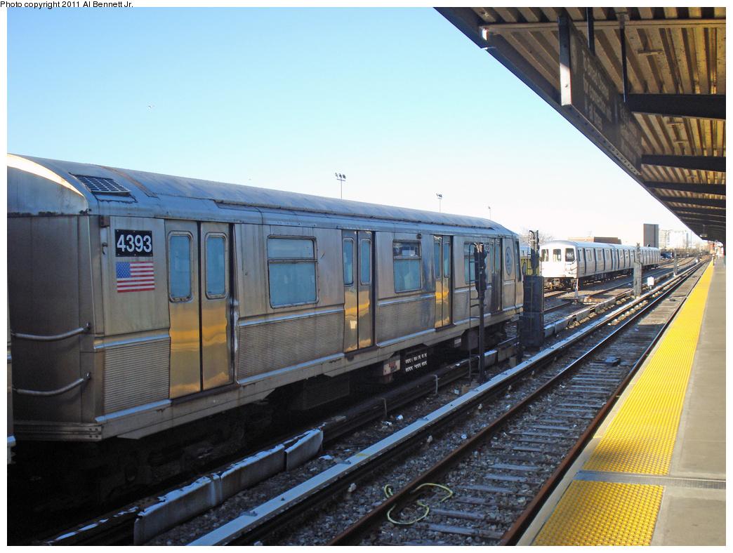(424k, 1044x788)<br><b>Country:</b> United States<br><b>City:</b> New York<br><b>System:</b> New York City Transit<br><b>Location:</b> Rockaway Park Yard<br><b>Route:</b> School car<br><b>Car:</b> R-40 (St. Louis, 1968)  4393 <br><b>Photo by:</b> Al Bennett, Jr.<br><b>Date:</b> 4/21/2011<br><b>Viewed (this week/total):</b> 2 / 732