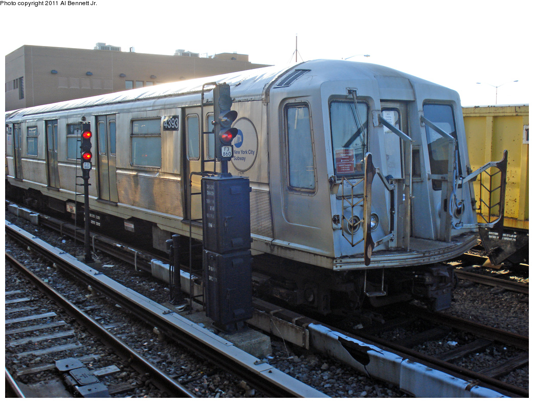 (414k, 1044x788)<br><b>Country:</b> United States<br><b>City:</b> New York<br><b>System:</b> New York City Transit<br><b>Location:</b> Rockaway Park Yard<br><b>Route:</b> School car<br><b>Car:</b> R-40 (St. Louis, 1968)  4393 <br><b>Photo by:</b> Al Bennett, Jr.<br><b>Date:</b> 4/21/2011<br><b>Viewed (this week/total):</b> 1 / 750