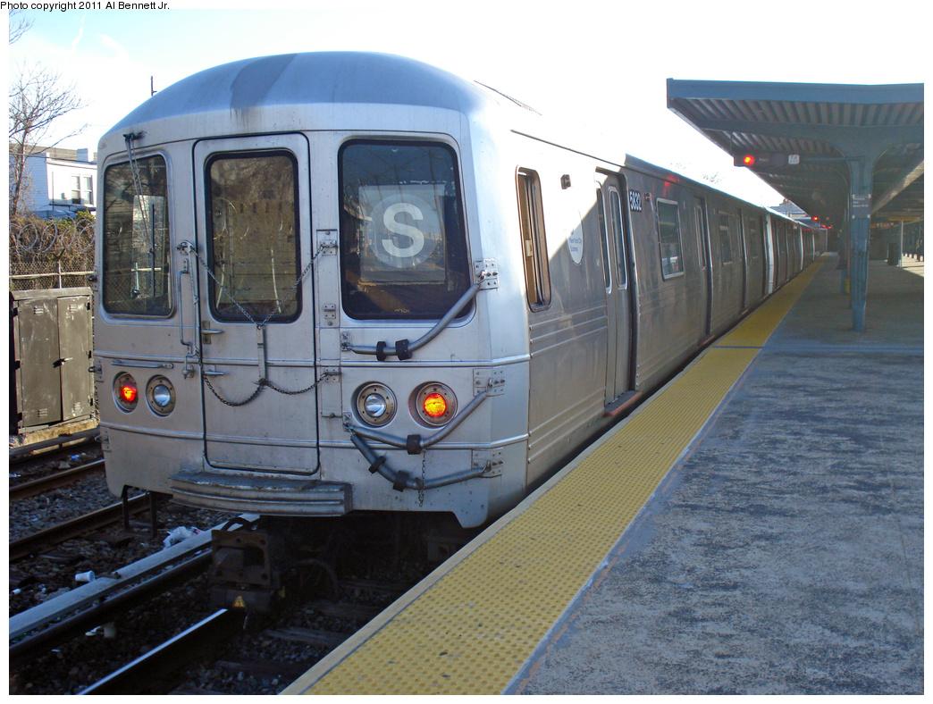 (437k, 1044x788)<br><b>Country:</b> United States<br><b>City:</b> New York<br><b>System:</b> New York City Transit<br><b>Line:</b> IND Rockaway<br><b>Location:</b> Rockaway Park/Beach 116th Street <br><b>Route:</b> S<br><b>Car:</b> R-46 (Pullman-Standard, 1974-75) 5832 <br><b>Photo by:</b> Al Bennett, Jr.<br><b>Date:</b> 4/21/2011<br><b>Viewed (this week/total):</b> 3 / 907