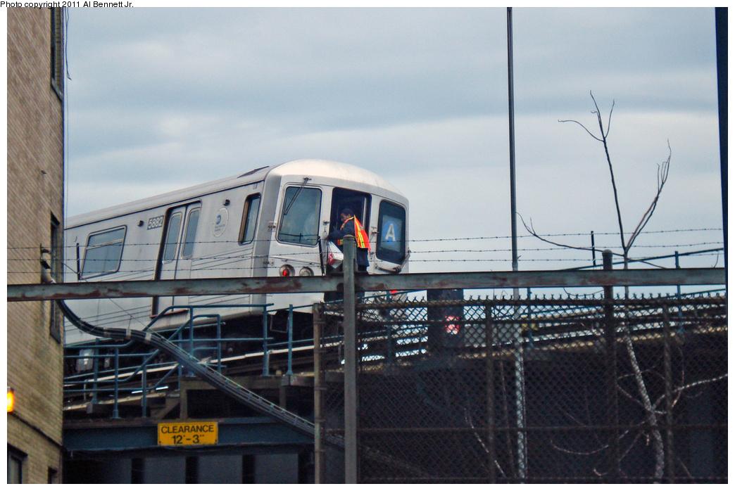 (360k, 1044x698)<br><b>Country:</b> United States<br><b>City:</b> New York<br><b>System:</b> New York City Transit<br><b>Line:</b> IND Rockaway<br><b>Location:</b> Liberty Junction<br><b>Route:</b> A<br><b>Car:</b> R-46 (Pullman-Standard, 1974-75) 5882 <br><b>Photo by:</b> Al Bennett, Jr.<br><b>Date:</b> 4/22/2011<br><b>Notes:</b> Employee drop at Liberty Jct Tower<br><b>Viewed (this week/total):</b> 1 / 788