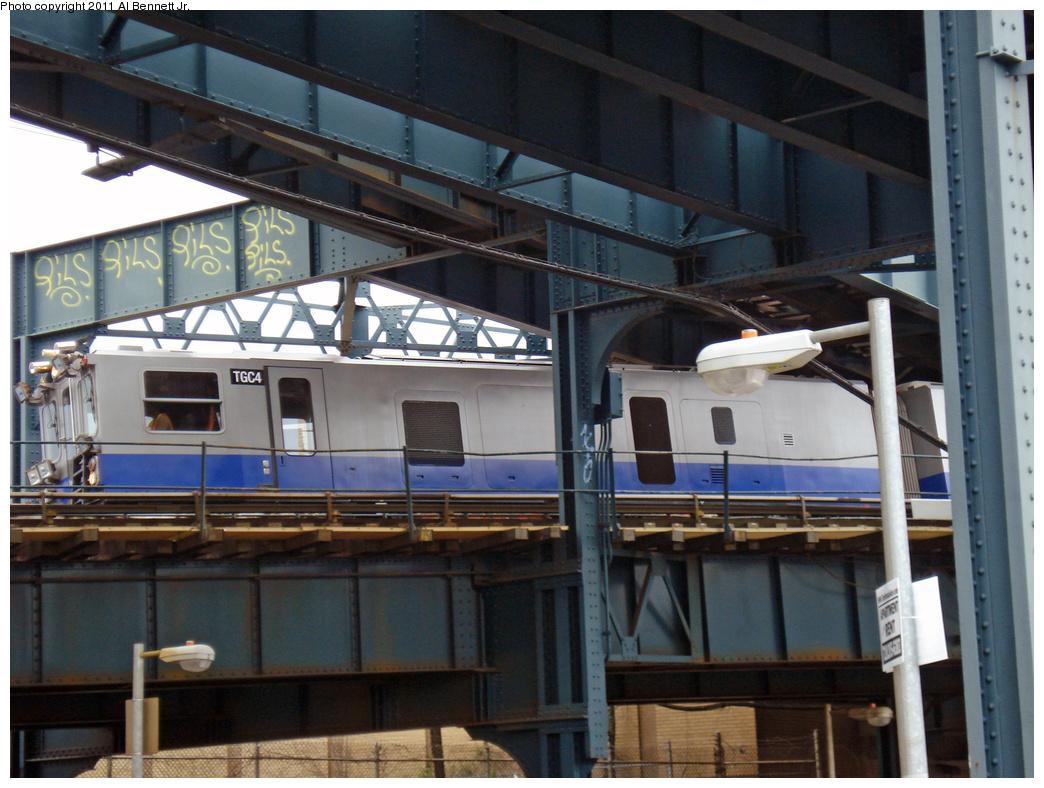 (411k, 1044x788)<br><b>Country:</b> United States<br><b>City:</b> New York<br><b>System:</b> New York City Transit<br><b>Line:</b> IND Rockaway<br><b>Location:</b> Liberty Junction<br><b>Route:</b> Work Service<br><b>Car:</b> Track Geometry Car TGC4 <br><b>Photo by:</b> Al Bennett, Jr.<br><b>Date:</b> 4/22/2011<br><b>Viewed (this week/total):</b> 5 / 791