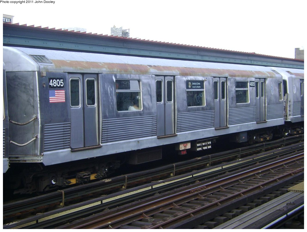 (280k, 1044x788)<br><b>Country:</b> United States<br><b>City:</b> New York<br><b>System:</b> New York City Transit<br><b>Line:</b> BMT Nassau Street/Jamaica Line<br><b>Location:</b> Flushing Avenue <br><b>Route:</b> Z<br><b>Car:</b> R-42 (St. Louis, 1969-1970)  4805 <br><b>Photo by:</b> John Dooley<br><b>Date:</b> 5/24/2011<br><b>Viewed (this week/total):</b> 1 / 878