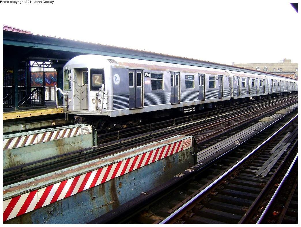 (373k, 1044x788)<br><b>Country:</b> United States<br><b>City:</b> New York<br><b>System:</b> New York City Transit<br><b>Line:</b> BMT Nassau Street/Jamaica Line<br><b>Location:</b> Flushing Avenue <br><b>Route:</b> Z<br><b>Car:</b> R-42 (St. Louis, 1969-1970)  4808 <br><b>Photo by:</b> John Dooley<br><b>Date:</b> 5/24/2011<br><b>Viewed (this week/total):</b> 1 / 798
