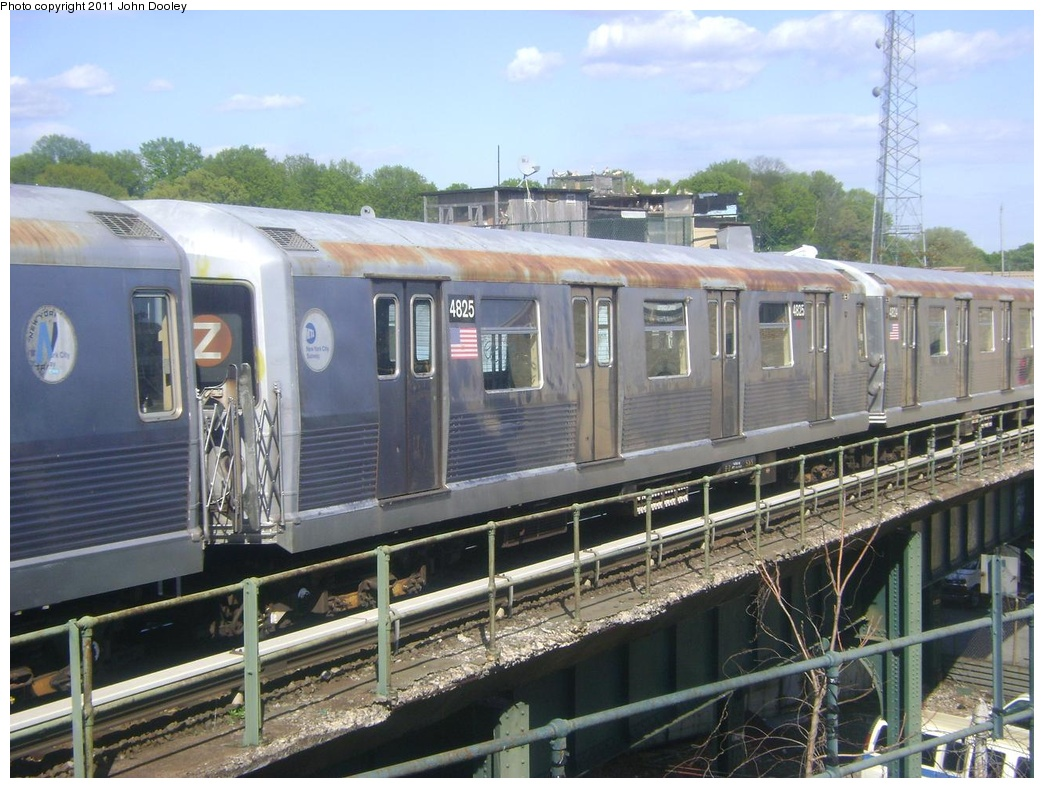(317k, 1044x788)<br><b>Country:</b> United States<br><b>City:</b> New York<br><b>System:</b> New York City Transit<br><b>Location:</b> East New York Yard/Shops<br><b>Route:</b> Z<br><b>Car:</b> R-42 (St. Louis, 1969-1970)  4825 <br><b>Photo by:</b> John Dooley<br><b>Date:</b> 5/10/2011<br><b>Viewed (this week/total):</b> 0 / 550