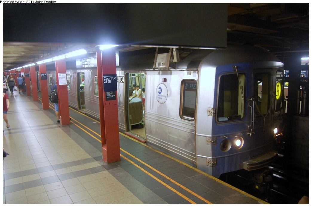 (265k, 1044x691)<br><b>Country:</b> United States<br><b>City:</b> New York<br><b>System:</b> New York City Transit<br><b>Line:</b> IND Queens Boulevard Line<br><b>Location:</b> Court Square/23rd St (Ely Avenue) <br><b>Route:</b> R<br><b>Car:</b> R-46 (Pullman-Standard, 1974-75) 5808 <br><b>Photo by:</b> John Dooley<br><b>Date:</b> 7/23/2011<br><b>Viewed (this week/total):</b> 2 / 1215