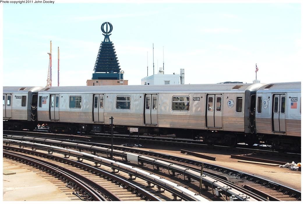 (318k, 1044x701)<br><b>Country:</b> United States<br><b>City:</b> New York<br><b>System:</b> New York City Transit<br><b>Location:</b> Coney Island/Stillwell Avenue<br><b>Route:</b> Q<br><b>Car:</b> R-68A (Kawasaki, 1988-1989)  5036 <br><b>Photo by:</b> John Dooley<br><b>Date:</b> 7/2/2011<br><b>Viewed (this week/total):</b> 0 / 968