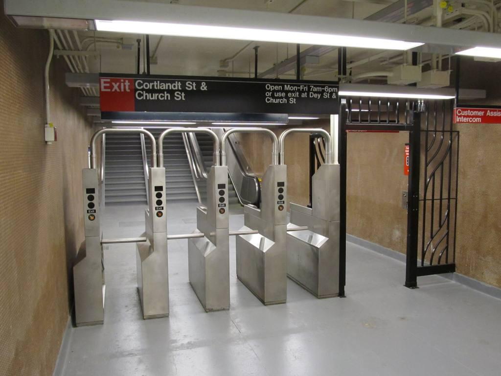 (91k, 1024x768)<br><b>Country:</b> United States<br><b>City:</b> New York<br><b>System:</b> New York City Transit<br><b>Line:</b> BMT Broadway Line<br><b>Location:</b> Cortlandt Street-World Trade Center <br><b>Photo by:</b> Robbie Rosenfeld<br><b>Date:</b> 9/12/2011<br><b>Notes:</b> Exit to Cortlandt & Church at 1 Liberty St.<br><b>Viewed (this week/total):</b> 0 / 1290