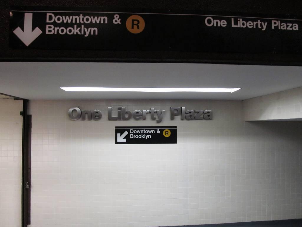 (57k, 1024x768)<br><b>Country:</b> United States<br><b>City:</b> New York<br><b>System:</b> New York City Transit<br><b>Line:</b> BMT Broadway Line<br><b>Location:</b> Cortlandt Street-World Trade Center <br><b>Photo by:</b> Robbie Rosenfeld<br><b>Date:</b> 9/12/2011<br><b>Notes:</b> Entrance at 1 Liberty St.<br><b>Viewed (this week/total):</b> 2 / 1139
