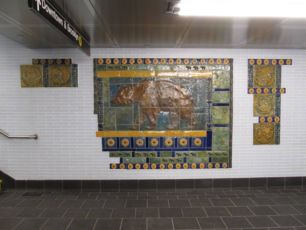 (116k, 1024x768)<br><b>Country:</b> United States<br><b>City:</b> New York<br><b>System:</b> New York City Transit<br><b>Line:</b> BMT Broadway Line<br><b>Location:</b> Cortlandt Street-World Trade Center <br><b>Photo by:</b> Robbie Rosenfeld<br><b>Date:</b> 9/12/2011<br><b>Artwork:</b> <i>Trade, Treasure, and Travel</i>, Margie Hughto (1997).<br><b>Notes:</b> New locations of artwork after station reconstruction.<br><b>Viewed (this week/total):</b> 1 / 904